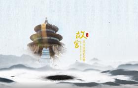 中国风水墨画卷展开演示图片动画模板