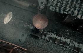 江南风雨中的青砖瓦砾实拍视频