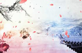 素雅中国风的水墨花瓣飞舞动态视频