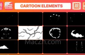 十二款手绘烟雾MG卡通动画转场及标题文字动画FCPX插件