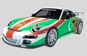 【3D模型】保時捷997GT3賽車3Dmax模型下載