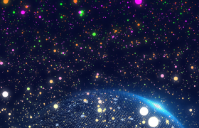太空中五顏六色的粒子落向地球的背景視頻素材