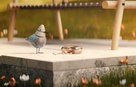 輕松有趣的動畫小鳥日常生活動畫流暢視頻素材