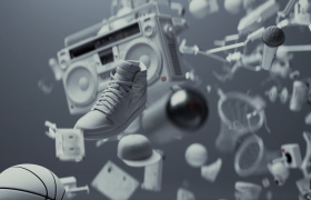 震撼炫酷的球场科幻场景特效视频运动鞋创意推广广告