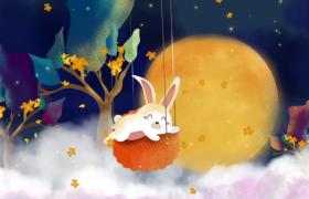 卡通版的玉兔月饼中秋节舞台背景视频素材