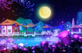 唯美梦幻的月色中秋节背景视频素材