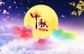 唯美的花瓣飘落中秋节背景视频素材