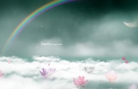 白云里面的荷花彩虹月亮特效视频素材
