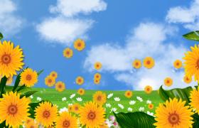 創意的向日葵泡泡在藍天白云下飛舞舞臺背景視頻素材