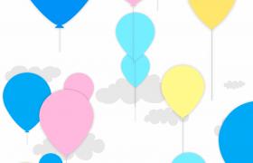 ?動畫版的氣球在云朵中上升背景視頻素材