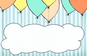 ?五彩繽紛的氣球連接著白云卡通動態視頻素材