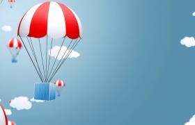熱氣球在藍天白云中不斷下降視頻素材