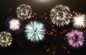 ?绚丽多彩的烟花在天空中绽放视频素材