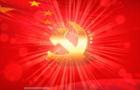 ?党徽在飘扬的国旗前闪闪发光背景视频素材