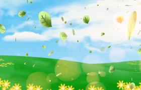 樹葉在草原上飄舞動畫?背景視頻素材