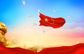 彩云下飄揚的國旗飛舞的鴿子背景視頻素材