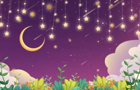 动画版的星星月亮挂天上摇晃的动态背景视频素材