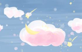 唯美動畫版的彎月彩云飄移視頻素材