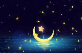 2个夜晚场景的星星月亮背景视频优德w88中文版免费下载
