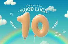 可爱卡通气球10秒倒计时动画视频素材