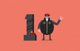 创意的全面屏10秒倒计时卡通动画视频素材