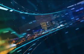 在科技空间中环形旋转展示城市夜景AE模板