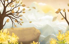 清新素雅的手绘重阳节赏菊动态视频素材