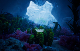海底深处游动的鱼儿与植物高清实拍视频素材