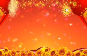 秋季丰收大红灯笼高高挂舞台背景视频素材