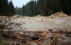 山洪爆发洪水激烈的涌动实拍视频