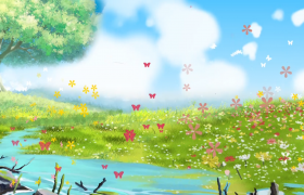 蓝天白云下的花草树木与小溪蝴蝶flash动态视频素材