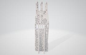 唯美科幻风三子塔楼建筑3D动画模型(无贴图素材)