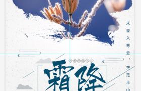 创意中国风大气古典二十四节气之霜降海报设计模板