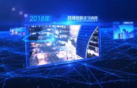 蓝色科技感的粒子连接企业历程简介AE素材