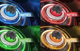 四种颜色的3D地球旋转?新闻栏目包装AE模板