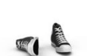 一款个性潮流的黑白高邦帆布鞋c4d模型