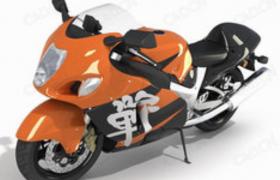卡通流線型設計炫酷繁體字logo插圖城市賽道Motorcycle大型機車C4D模型