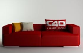 c4d抱枕时尚现代都市沙发三维模型