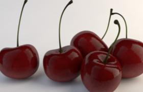 進口紅櫻桃帶貼圖精美c4d模型cherries素材