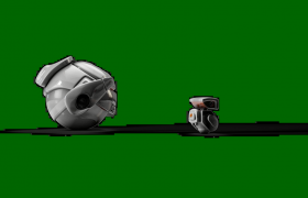 绿色背景的呆萌机器人动画引领未来文字展示Pr模板