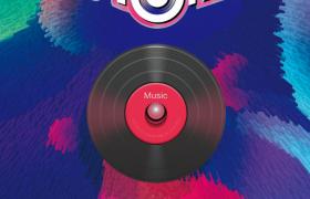 斑斕豎狀藝術立體原創音樂節海報模板