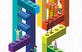 彩色创意乐高梯子招聘广告宣传海报模板