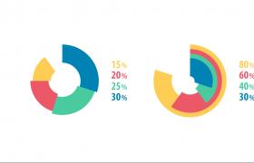 可爱的卡通动画百分比信息图表展示AE模板