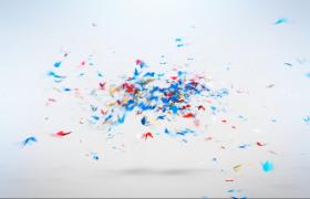 ?五顏六色的動畫蝴蝶飛舞匯集成logo標題PR模板