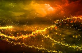 ?炫酷的金色粒子旋轉飛舞揭示標題PR模板展示