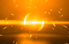 金色的粒子线飞舞碰撞揭示标题PR模板