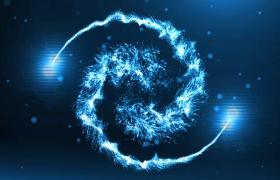 蓝色粒子束旋转震撼揭示logo徽标PR模板