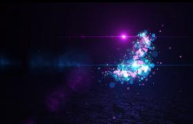 ?藍紫色的光斑飛舞揭示logo標題PR模板展示