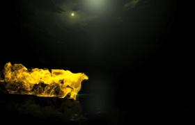 金色的粒子汇集成小马拖出logo标题PR模板素材