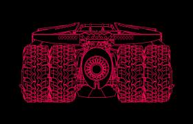 红色线条勾勒而成的装甲战车c4d模型
